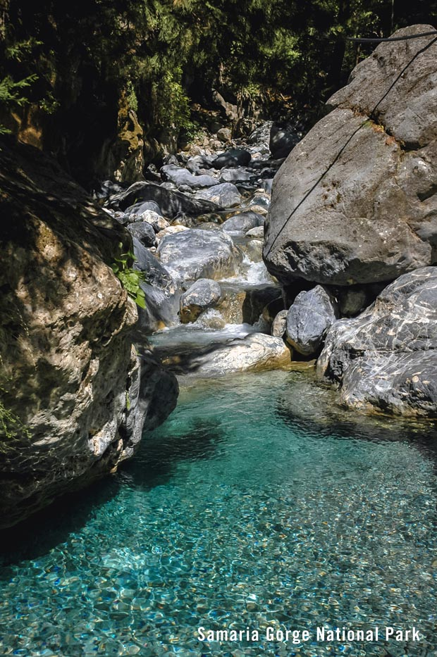 Waters of Samaria Gorge in Greece
