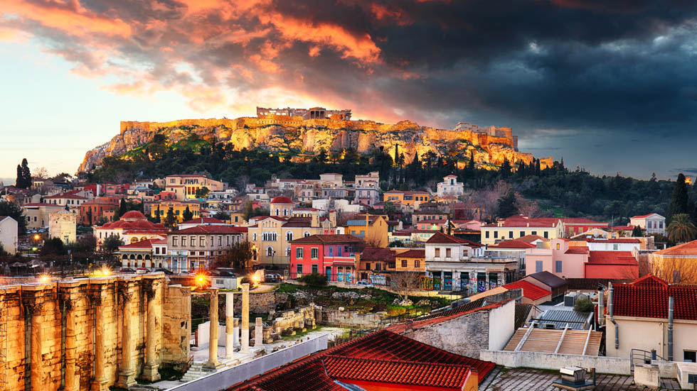 Sunset over Acropolis Athens Greece
