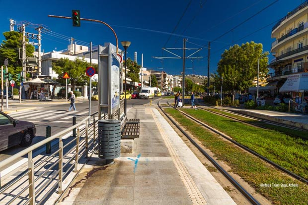 Glyfada Tram Stop in Athens Greece