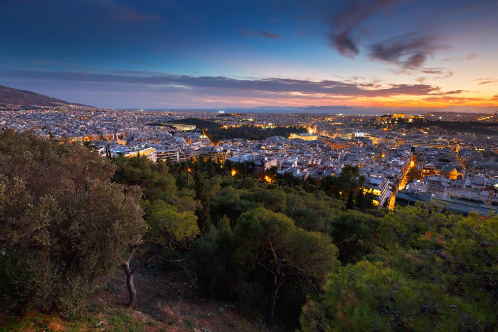 Athens Greece view from Ymittos Mountain
