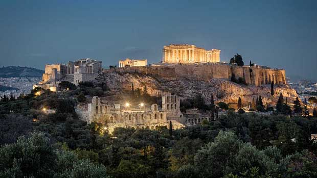 Night panoramic view of Acropolis, Athens, Greece