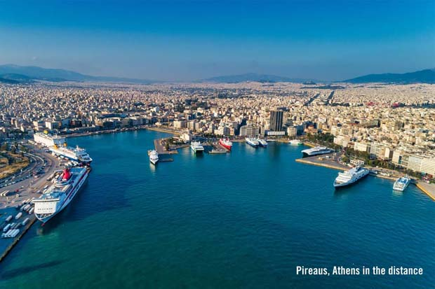 Pireaus Port at Athens Greece