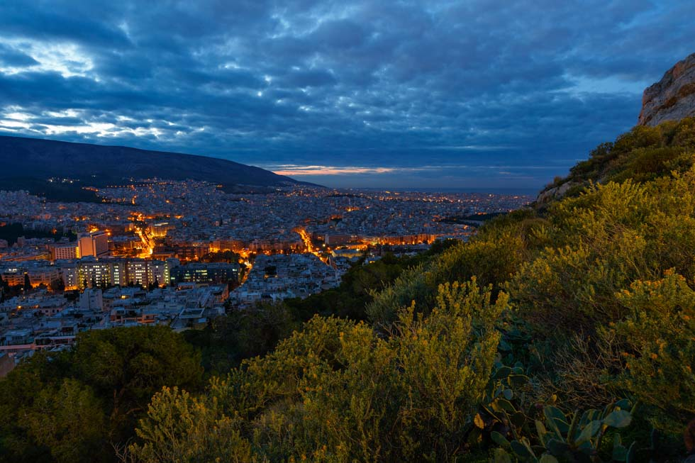Nightfall over Athens Greece