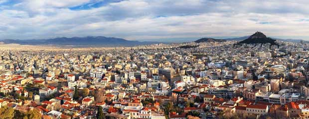 Athens Greece and Lycabettus Mountain