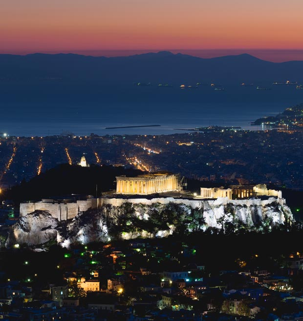 Athens Greece by Night - Scropolis