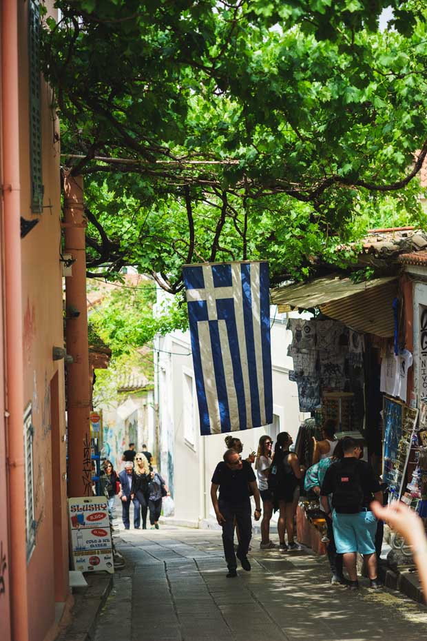 Athens Greece and Greek Flag