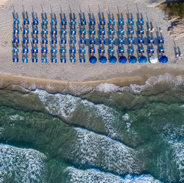 On the Beach in Greece from the sky