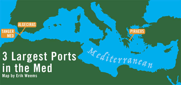 Largest Ports in the Mediterranean Map