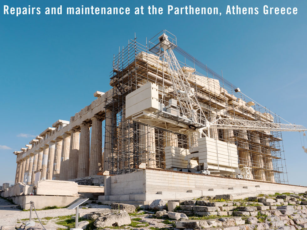 Repairs and maintenance at the Parthenon on the Acropolis in Athens Greece