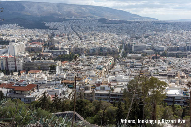 Rizari Ave in Athens Greece seen from Lycabettus Hill