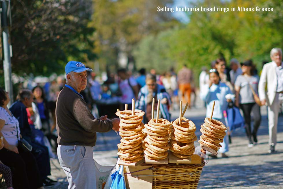 Selling koulouria bread rings in Athens Greece