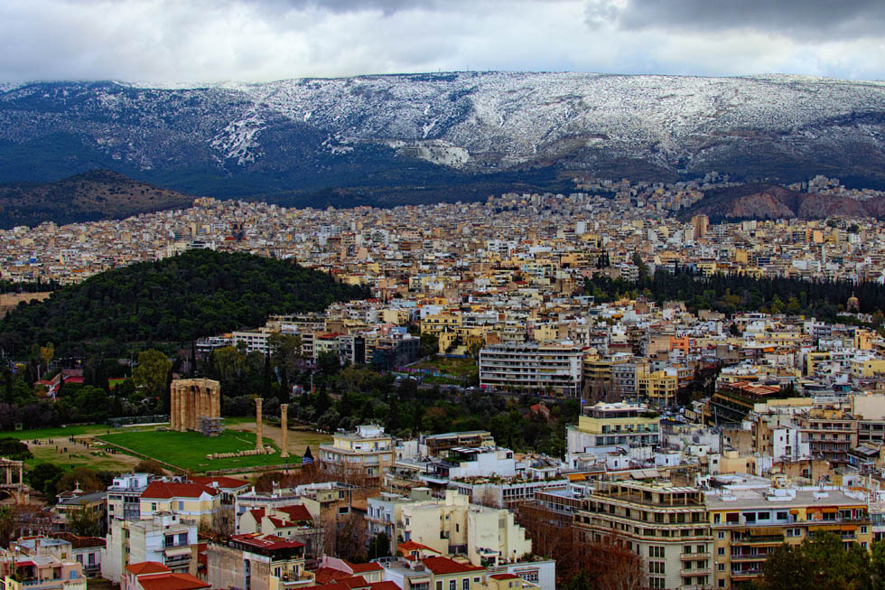 Ymittos Athens Greece Snow