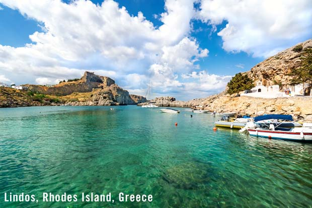 Lindos waters on coast of Island of Rhodes