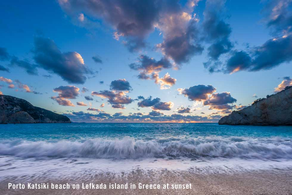 Porto Katsiki beach on Lefkada island in Greece at sunset