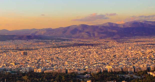 Athens Greece purple shadowed mountains