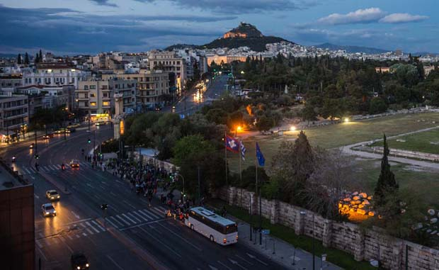 Athens Greece at nightfall and Lycabettus in distance