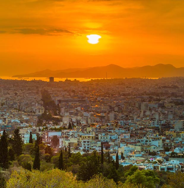 Sunrise over Athens Greece