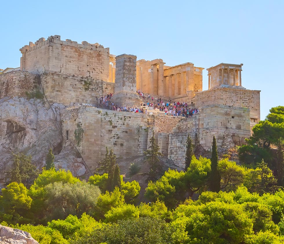 Acropolis in Athens under the sun