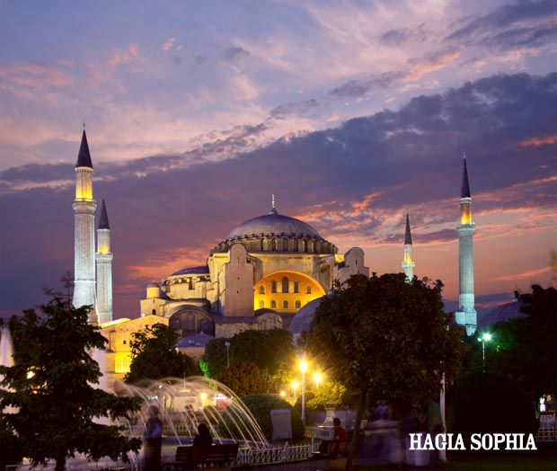 Night falling at the Hagia Sophia