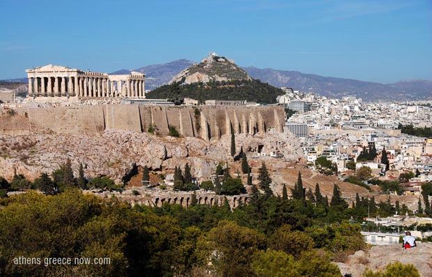 The Acropolis with Lycabettus Hill in background, Athens Greece