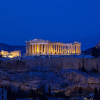 Dusk view of Acropolis and Athens Greece