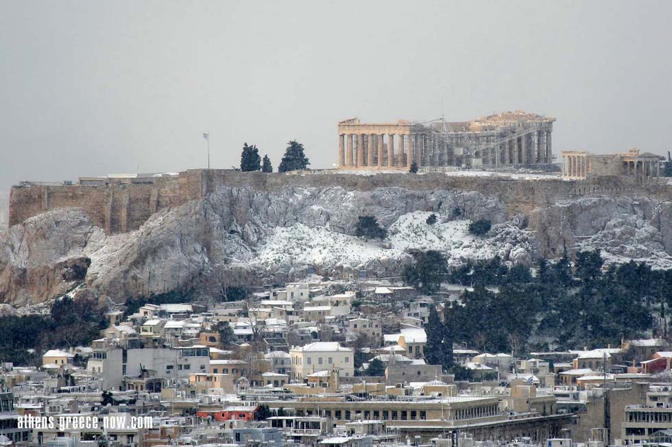 Acropolis in the Snow - Athens Greece