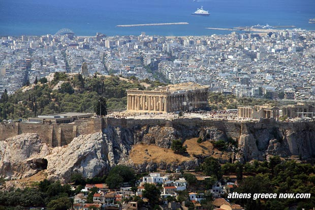 Pireas in distance, with Acropolis mount with Parthenon, Athens, Greece