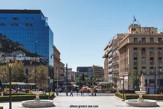 Square and Omonoia Street from the stairs of the National and Kapodistrian University of Athens in Greece