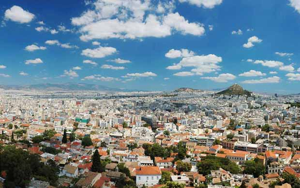 View of Athens Greece from atop Acropolis