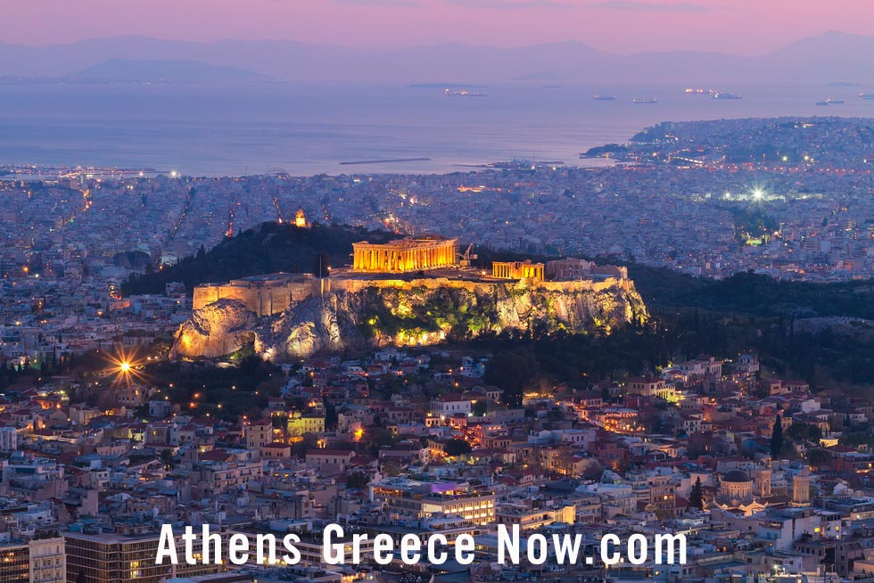 Athens Greece Evening Light at Dusk