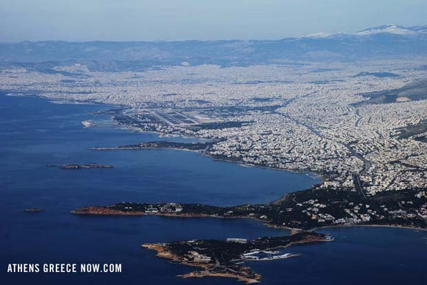 Athens Greece from the Sky with Piraeus