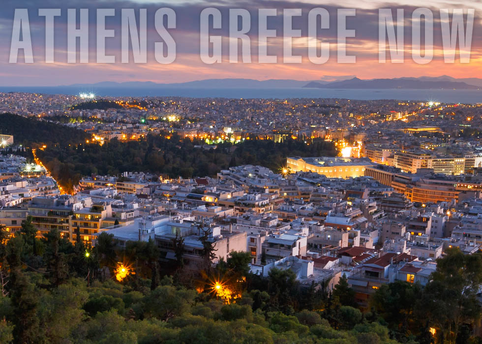 Sunset over the city of Athens