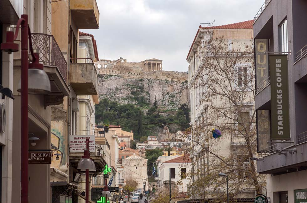 Athens Greece Street view of Acropolis
