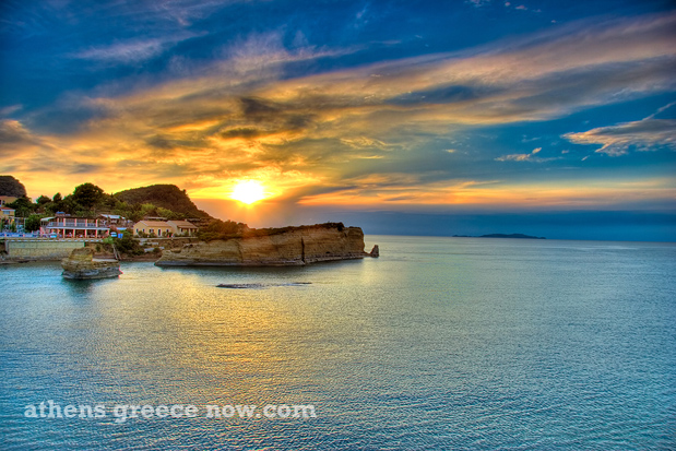 Corfu island sunset in Greece on the Aegean