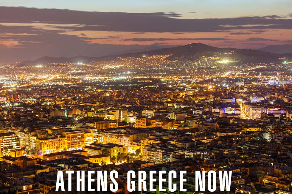 Evening Skyline in Athens Greece