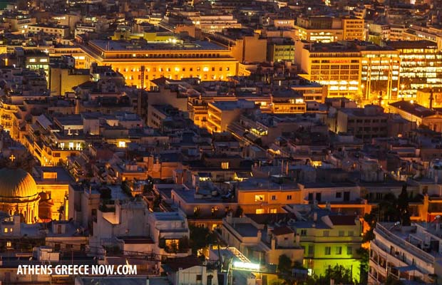 Night Time Athens Greece aerial photo