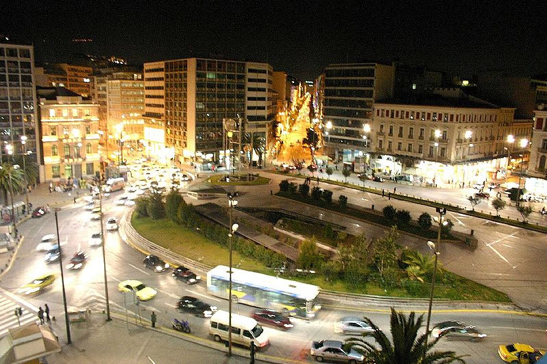 View of Omonoia Square at night