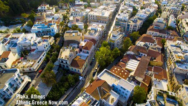 Plaka in Athens Greece - drone sky photo