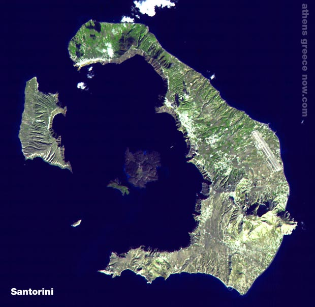 Santorini Island from the sky - satellite photo