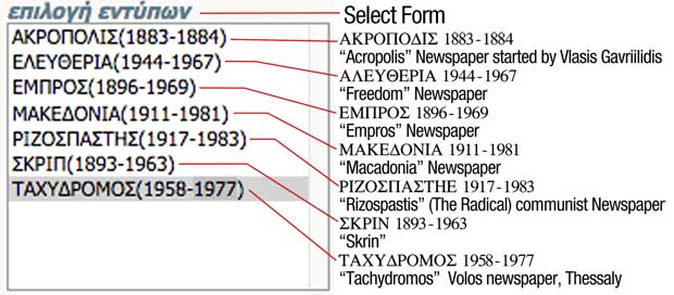 Select form greek newspaper guide