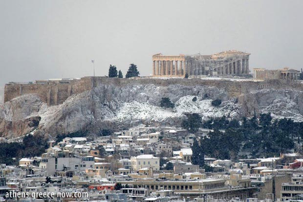 Snow on the Acropolis Athens Greece
