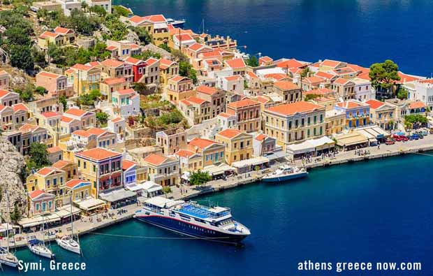Symi Greece - aerial photo above coast