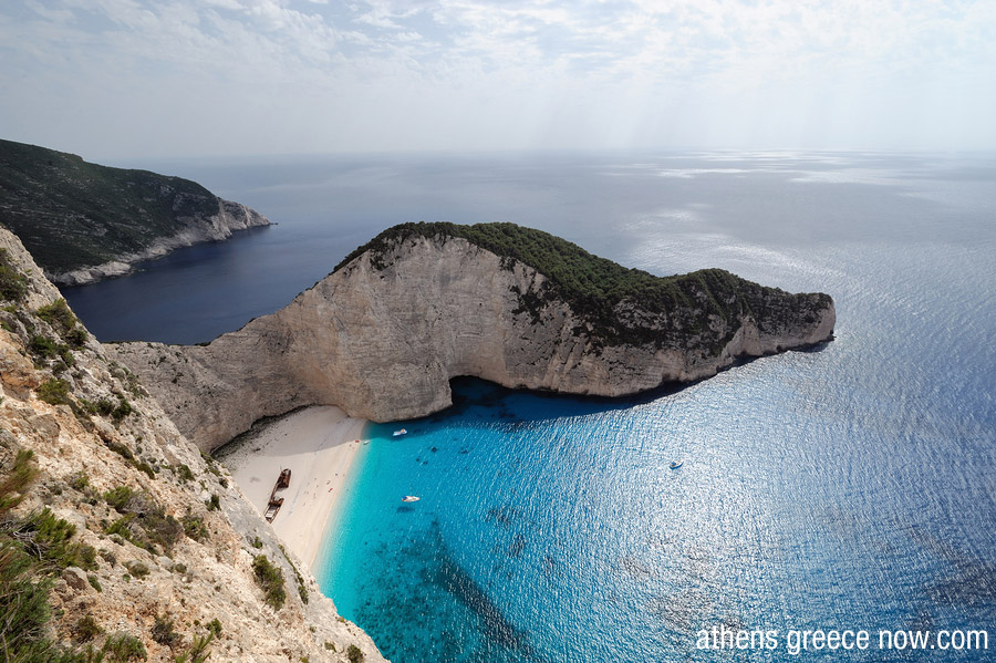 Aegean waters with Shipwreck Beach on Zakynthos in Greece